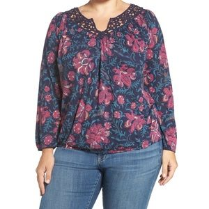Lucky Brand Katie blue floral crochet peasant top